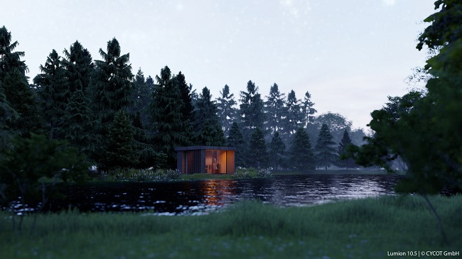 Outdoor Sauna, gerendert in Lumion 10.5 © CYCOT GmbH